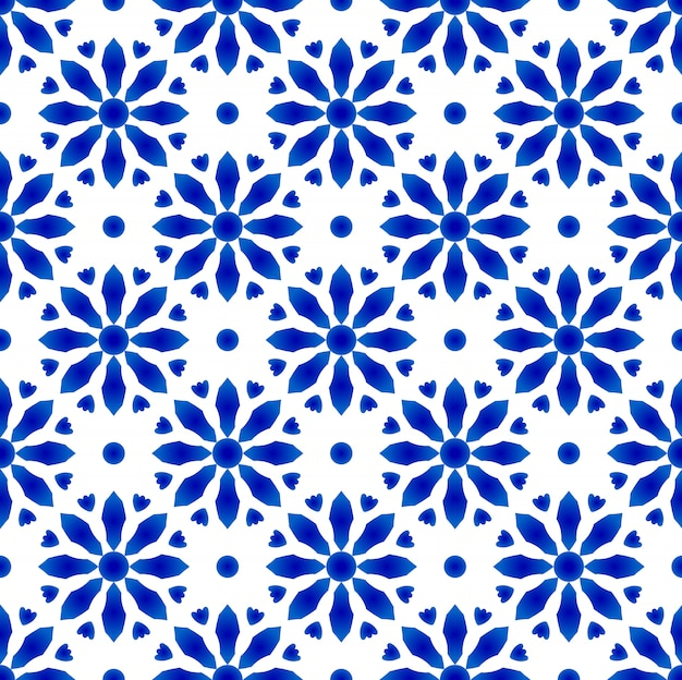 磁器藍パターン Premiumベクター