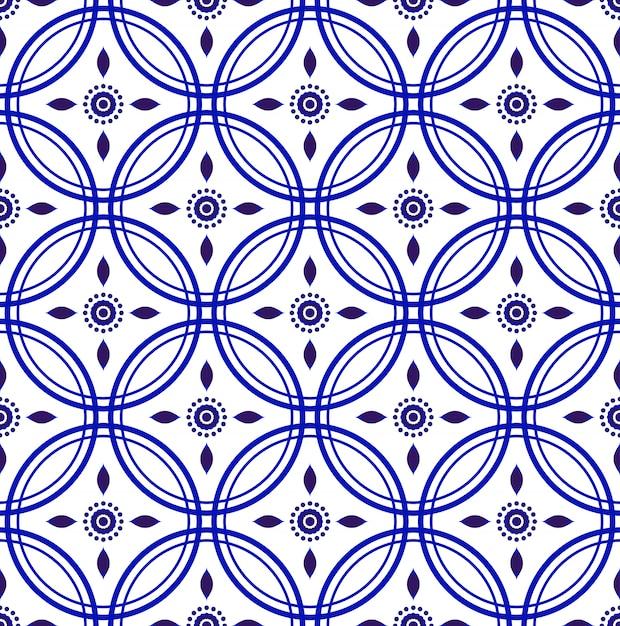 磁器藍シームレスパターン Premiumベクター