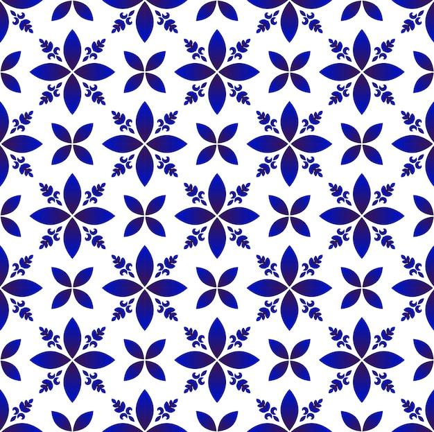 磁器の抽象的な花のパターン Premiumベクター