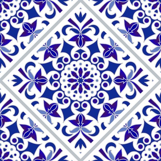 青と白のタイルパターン Premiumベクター