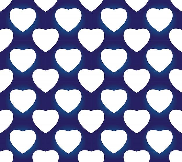 シームレスな磁器インディゴブルーとホワイトのシンプルなアートの装飾ベクトル、チャイニーズブルーのハート形、セラミックパターン Premiumベクター