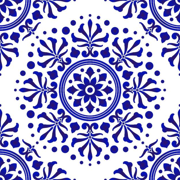 青と白のタイルパターン、抽象的な花柄の装飾的なシームレスデザイン、磁器、陶磁器、セラミック、タイル、天井、テクスチャ、マンダラ、壁紙、床、壁 Premiumベクター
