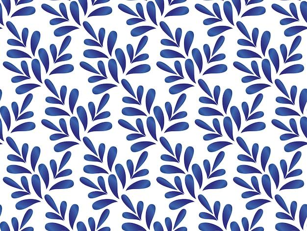 セラミの青と白の葉模様 Premiumベクター