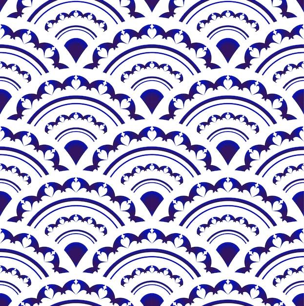 Синий и белый фарфор бесшовные дизайн, ислам, арабский, индийский, османский мотив, бесконечный узор Premium векторы