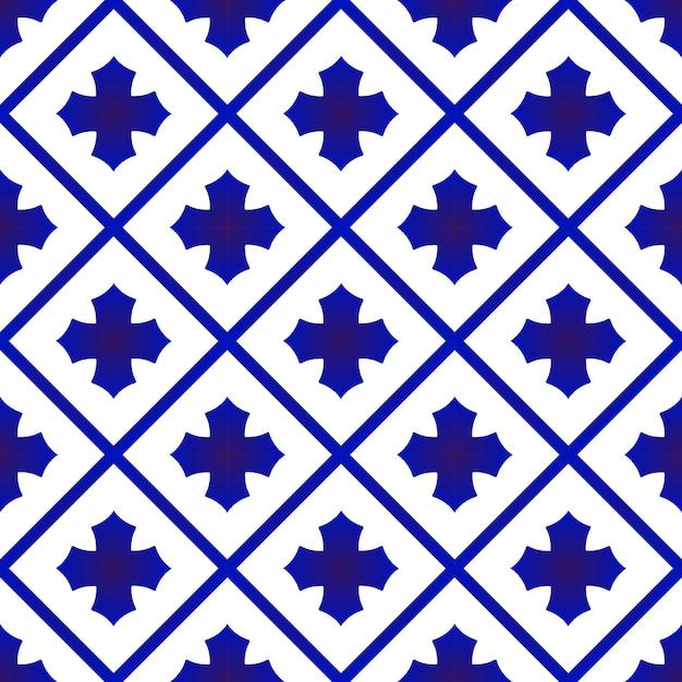 青と白のセラミックタイパターン Premiumベクター