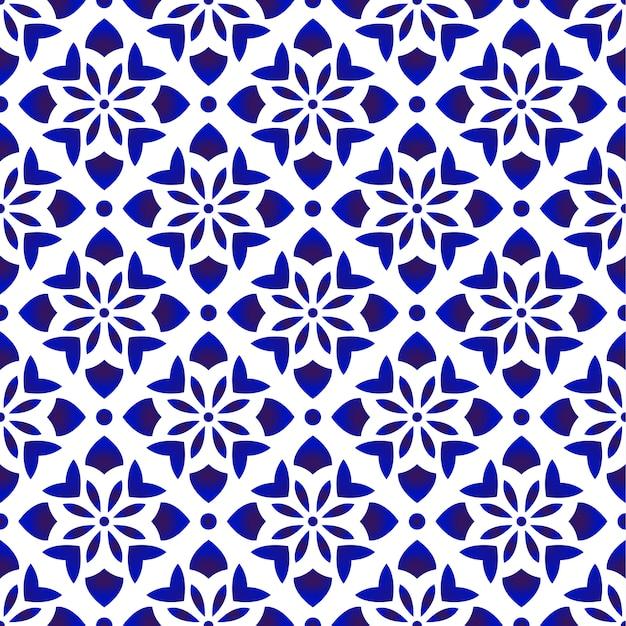 青と白の花柄 Premiumベクター