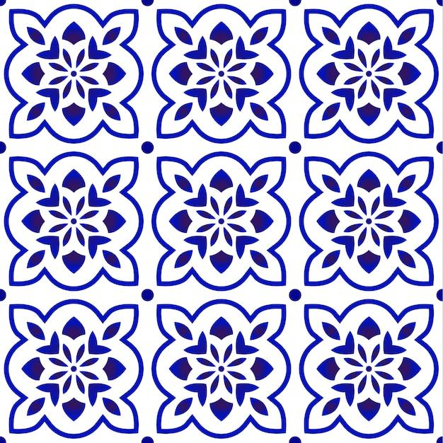 青いタイルパターン Premiumベクター