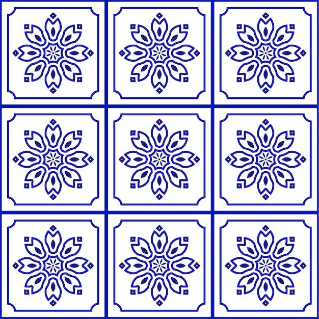 Синий и белый узор плитки бесшовные Premium векторы
