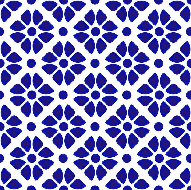 抽象的な花柄の青と白 Premiumベクター