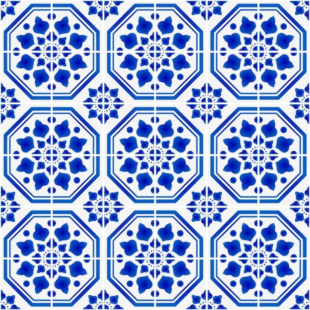 Керамическая плитка узор синий и белый антикварные обои, иллюстрация Premium векторы