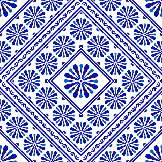 装飾的な花のタイルパターン Premiumベクター