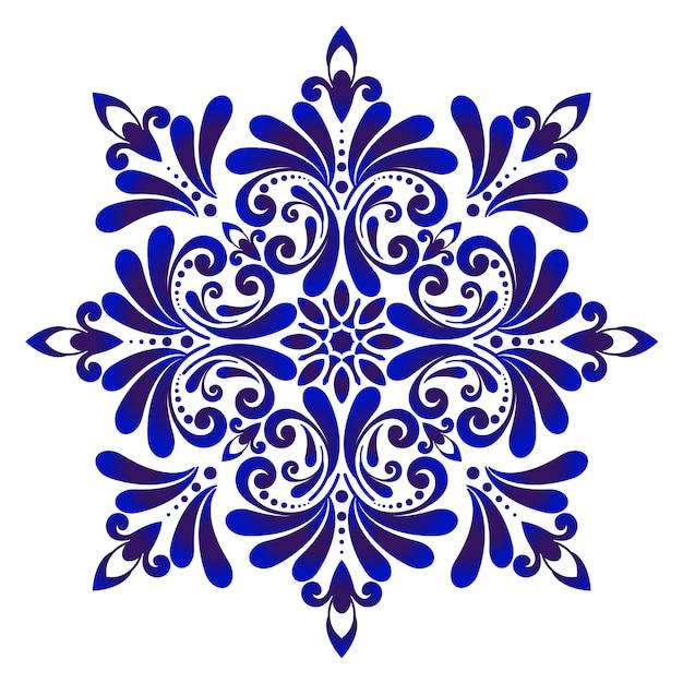 装飾的な花の青いタイルのデザイン Premiumベクター