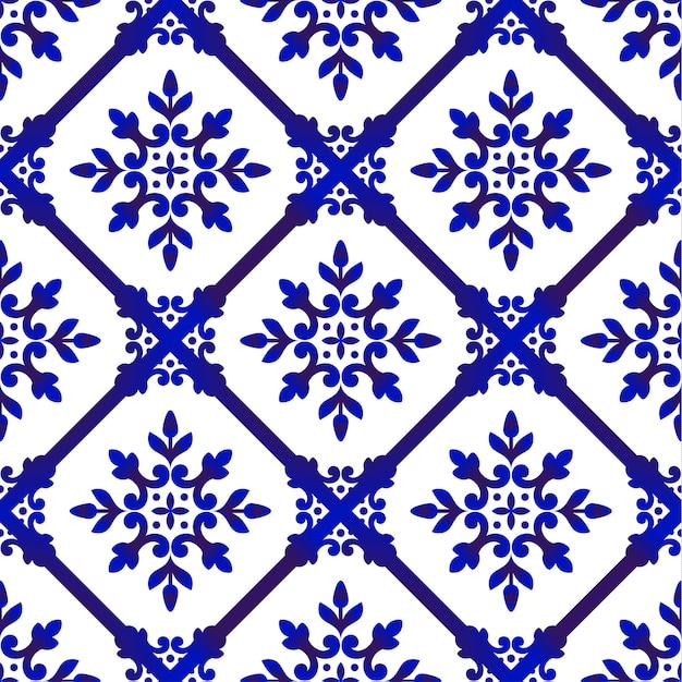 Декоративный цветочный синий узор Premium векторы