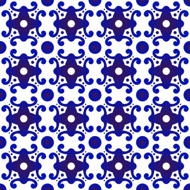 Современный узор синий и белый Premium векторы