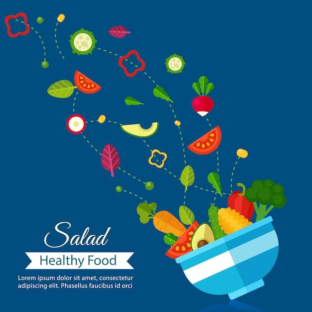 有機食品と野菜、サラダメニュー健康食品ダイエット。 Premiumベクター