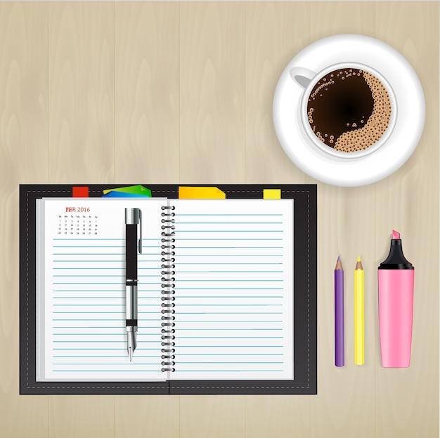 ノートブックとデスク上の静止画クリエイティブなデザインコンセプト。 Premiumベクター