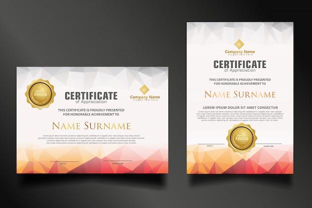 Установите шаблон сертификата с динамичным и футуристическим многоугольным цветом и современными формами Premium векторы