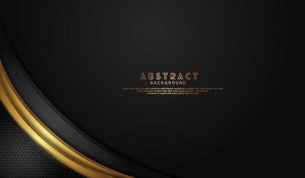 エレガントで豪華な黒のオーバーラップレイヤーの背景に暗い線に明るい線の金の効果 Premiumベクター