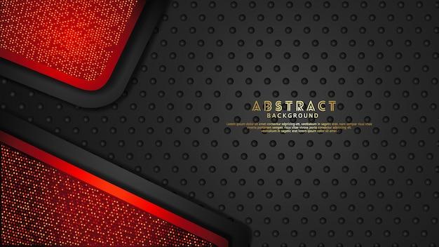 未来的でダイナミックな濃い赤と黒のレイヤーの背景がきらめき効果で重なります。テクスチャの暗い背景に現実的なハーフトーンドットパターン Premiumベクター