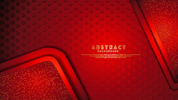未来的でダイナミックな濃い赤は、キラキラ効果を持つレイヤーの背景をオーバーラップします。テクスチャの暗い背景に現実的なドットパターン Premiumベクター