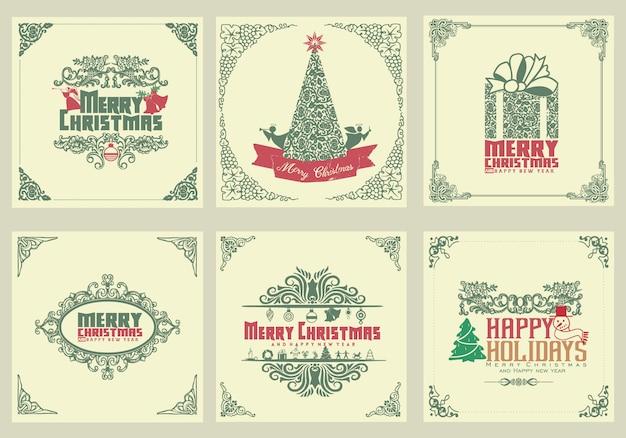 Декоративные квадратные зимние праздничные открытки с новогодней елкой, подарочной коробкой, елочными украшениями, вихревыми рамками и типографскими надписями Premium векторы