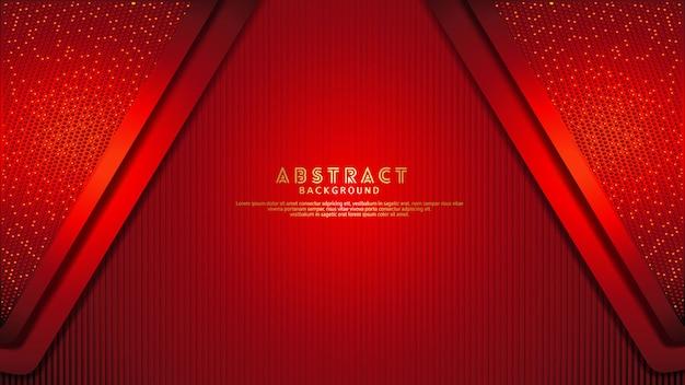 未来的でダイナミックな濃い赤は、キラキラ効果を持つレイヤーの背景をオーバーラップします。テクスチャの暗い背景に現実的な垂直線パターン Premiumベクター