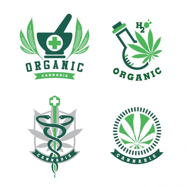 大麻のロゴ Premiumベクター