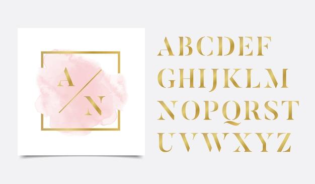 ゴールデンリニアロゴデザインとゴールデンイニシャル水彩画 Premiumベクター