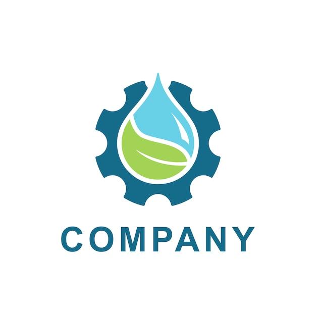 Вода, лист с редуктором дизайн логотипа вектор. иллюстрация пресной воды и зубчатой шестерни для энергетической экологии и промышленной компании Premium векторы