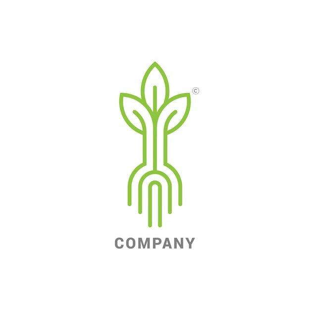 ルーツで芽を出す、発芽種でモダンなラインのロゴマーク Premiumベクター