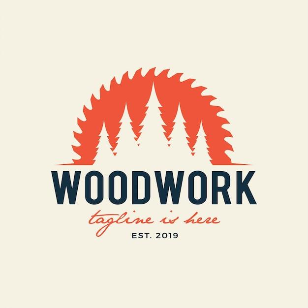 製材所エンブレムロゴ木工、木工、木こり、製材所サービス。白い背景に分離 Premiumベクター