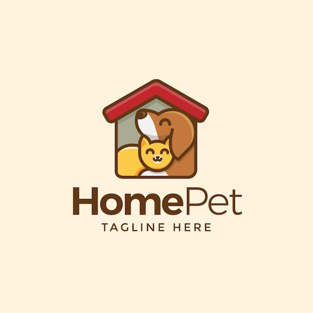 ホームペットロゴ Premiumベクター