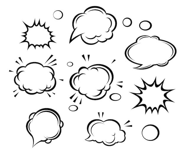 漫画の雲と泡 Premiumベクター