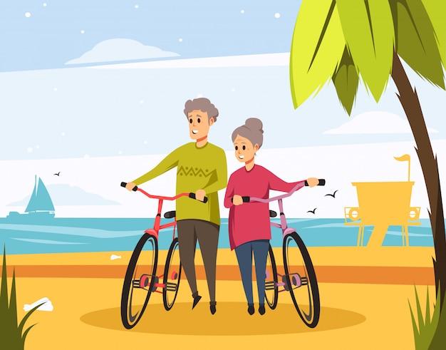 Вектор старшие старые пары на пляже с велосипедами Premium векторы