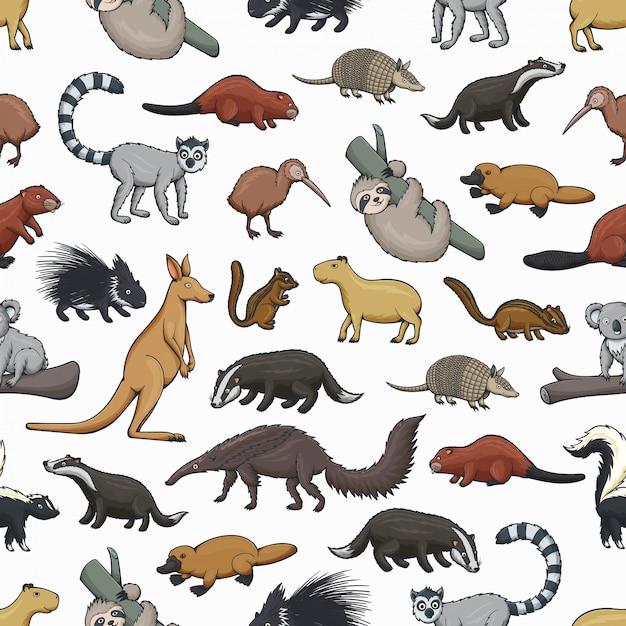 野生の哺乳類と鳥の動物のシームレスパターン Premiumベクター