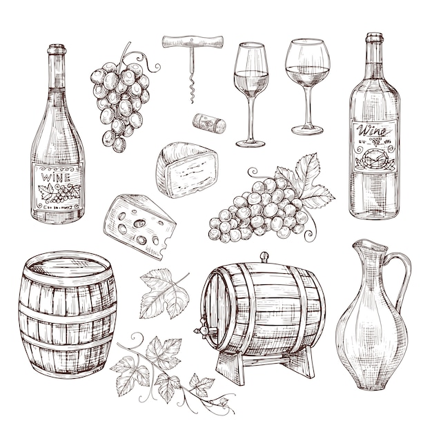 ワイン用品一式 Premiumベクター