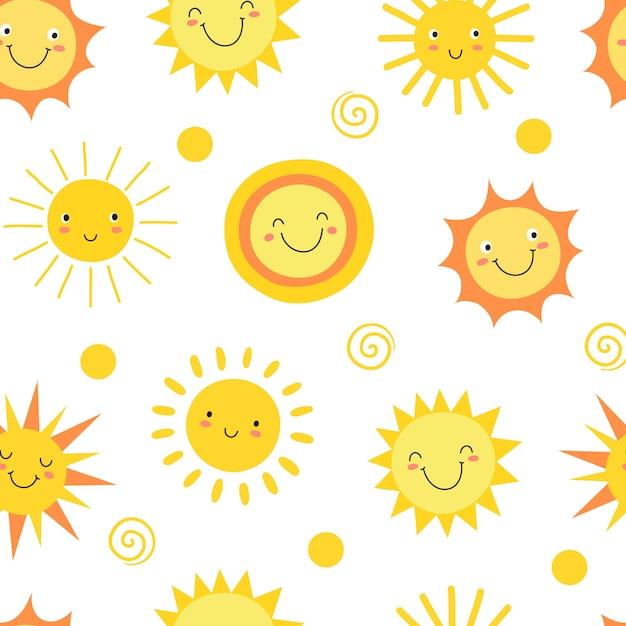 太陽のシームレスパターン Premiumベクター