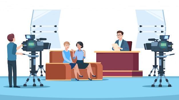 Телестудия интервью Premium векторы