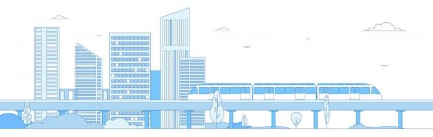 Монорельсовый поезд в мегаполисе Premium векторы