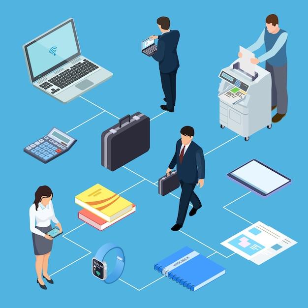 オフィス機器、オフィスワーカー等尺性概念 Premiumベクター