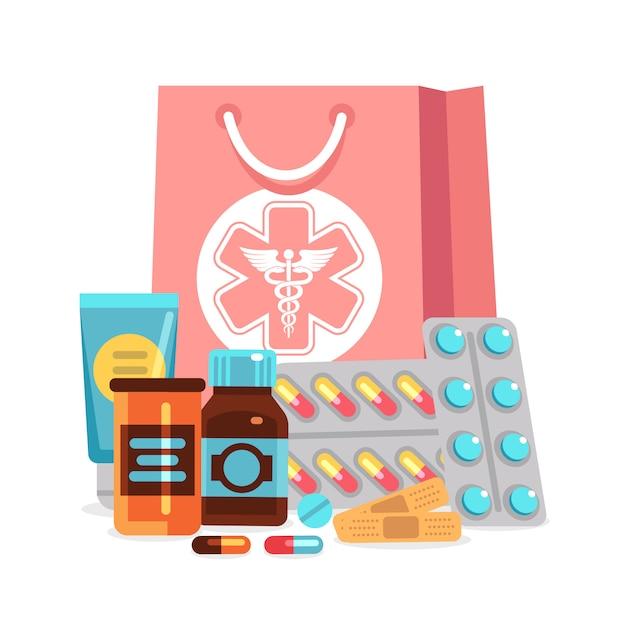 Аптека элементы, таблетки, витамины, бутылки с медицинской сумкой иллюстрации Premium векторы