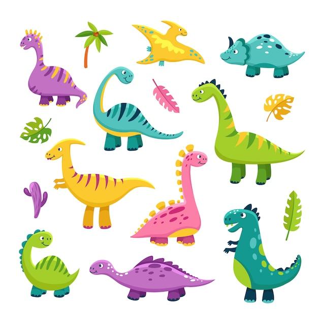 Милый дино. мультяшный ребенок динозавр стегозавр дракон дети доисторические дикие животные бронтозавры динозавры персонажи Premium векторы