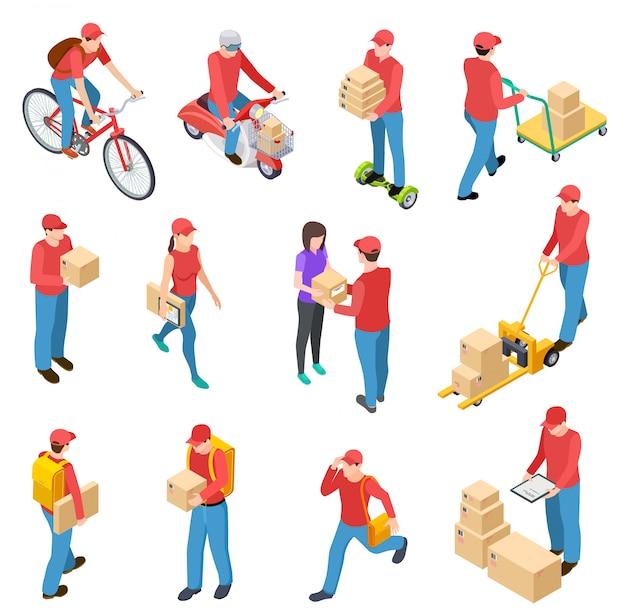 Доставка изометрическая. курьеры по доставке, почтальоны, парни, доставляющие коробки, мотоциклы, курьеры, курьеры персонажей Premium векторы