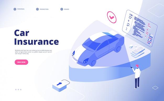 自動車保険のコンセプトです。破損した火災火災洪水泥棒車事故自動車保険セキュリティ自動車請求フォームランディングページ Premiumベクター