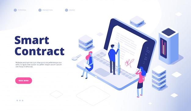 Умный контракт. концепция соглашения о криптографии посредника протокола смарт-контрактов электронной цифровой подписи Premium векторы