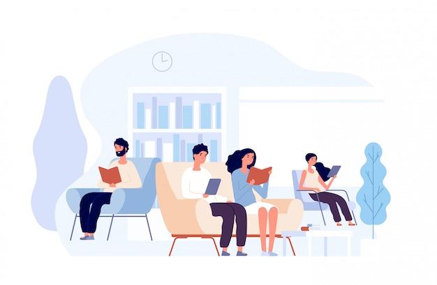 図書館の人々。椅子に座って本を読む人。大学図書館のコンセプトで大学の知識を学ぶ学生 Premiumベクター