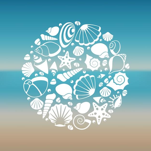 Белые морские раковины силуэт круглые концепции Premium векторы