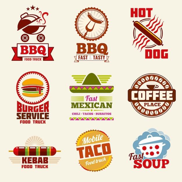 Логотип вектор быстрого питания Premium векторы