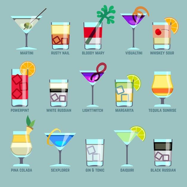 アルコール飲料とカクテルフラットベクトルアイコン Premiumベクター