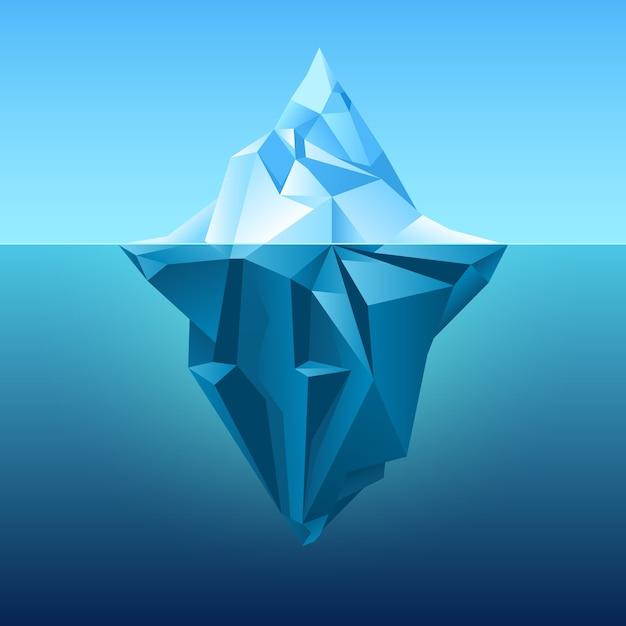 Айсберг в фоне голубого океана Premium векторы